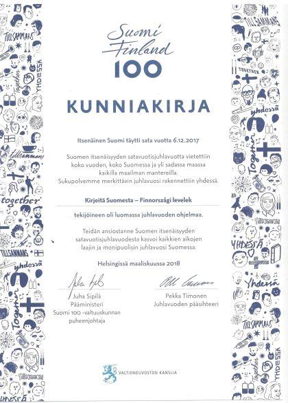 Kunniakirja Suomi 100