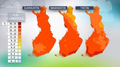 Toukokuun viimeisten päivien ylimmät lämpötilat