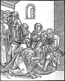 Luas Cranach Jeesus pesee opetuslasten jalat