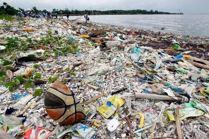 muoviroska merenrannalla